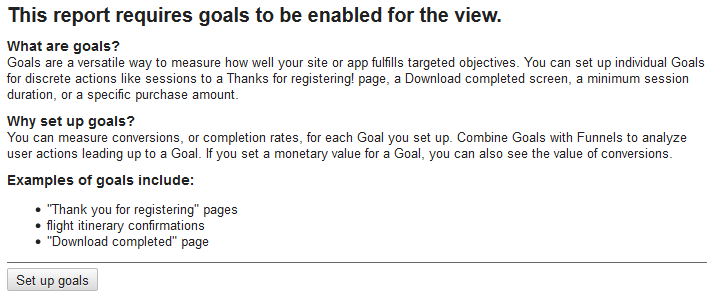 this report requires goals to be enabled